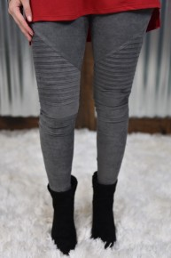 Charcoal Suede Moto Leggings