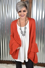 Orange Double Trouble Ruffle Cardigan