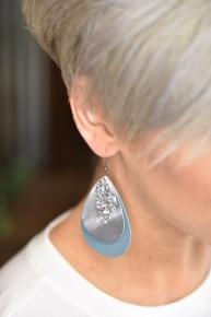 Blue Triple Layered Earrings