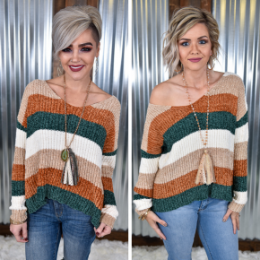Taupe & Rust Chenille Striped Sweater *Final Sale*