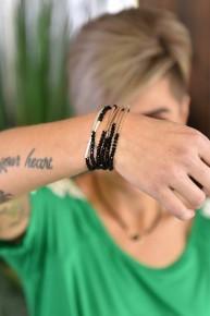 Black Beaded Stretch Six Bracelet Set
