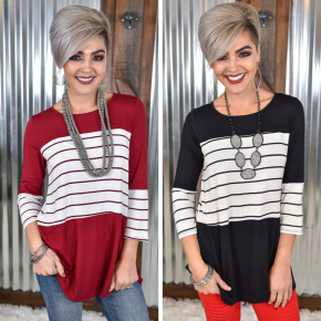 Striped Colorblock 3/4 Sleeve Top *Final Sale*