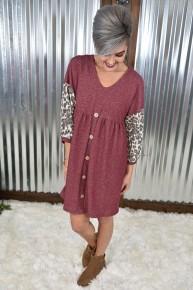 Burgundy  & Leopard Contrast Dress