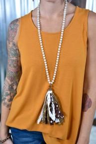 Brown Pearl Polka Dot Tassel Necklace