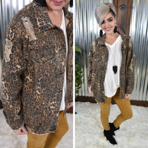 Distressed Leopard Denim Jacket