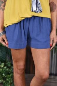 Denim Linen Blend Shorts