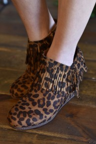 CLEARANCE Leopard Retro Fringe Booties
