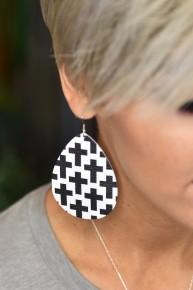 """Black Cross 3"""" Earrings *Final Sale*"""
