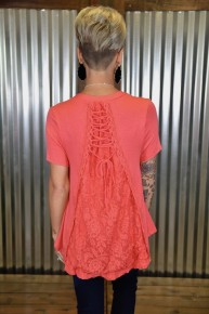 Coral S/S Lace Up Back Top