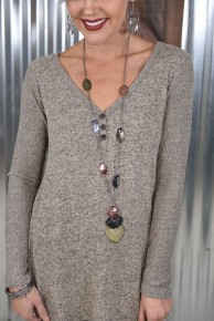 Stacked Hammered Pendant Necklace
