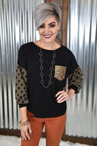 Black Polka Dot Sequin Top