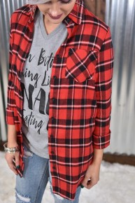 Red  Flannel Button Down Top