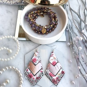Floral Pink Mirror Fringe Earrings