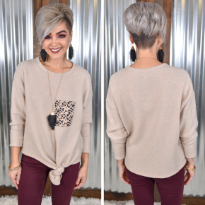 Taupe Cheetah Patch Knot Top