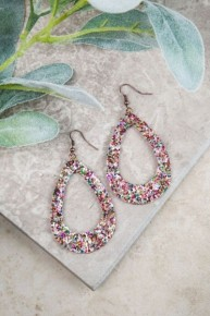 Teardrop Glitter Cutout Earrings