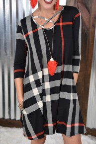 Black Plaid Criss Cross Dress