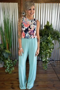 Mint Floral Jumpsuit