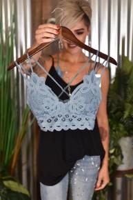 Blue Stone Crochet Lace Bralette