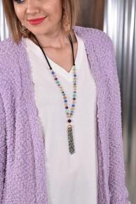 Tassel Pendant Cord Necklace
