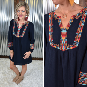 Navy Embroidered Dress *Final Sale*