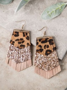 Rose Gold Tiered Fringed Leopard Earrings