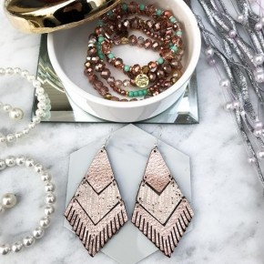 Metallic Rose Gold Fringe Earrings