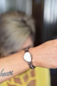 Copper & Ivory Stone Stretch Bracelet