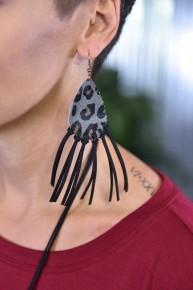 Grey Let's Be Fringe Leopard Earrings