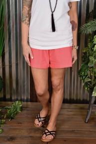 Coral Linen Shorts