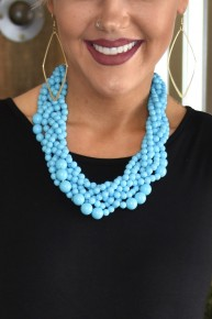 Turquoise Multi Strand Beaded Necklace