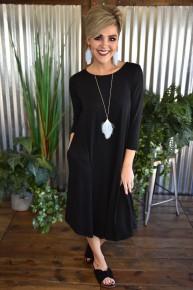 Black 3/4 Sleeve Basic Dress