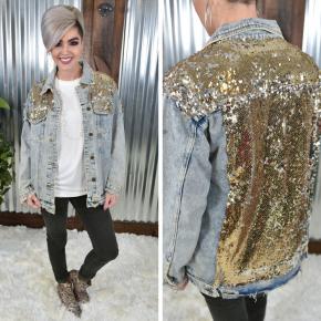 Gold Sequin Denim Jacket