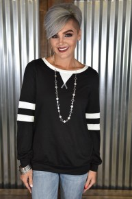CLEARANCE Black Striped Sleeve Top