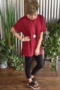 Cabernet Rolled Sleeve Top
