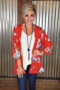 Red Floral 3/4 Sleeve Kimono