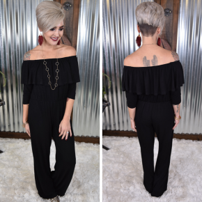 3/4 Sleeve Ruffle Off Shoulder Jumpsuit