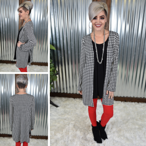 Houndstooth L/S Cardigan