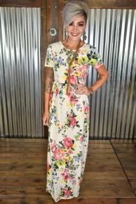 Cream & Pink Floral Maxi Dress