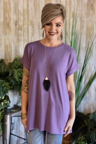 Lilac Rolled Sleeve Top