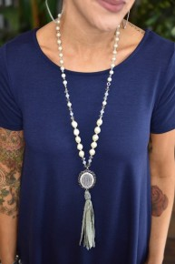 Grey Pendant & Tassel Necklace
