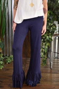 Navy Ruffled Pants