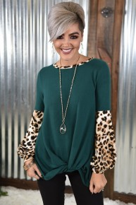 Green Cheetah Puff Sleeve Top