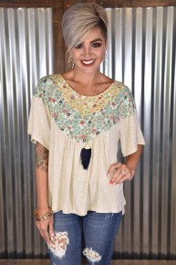 Oatmeal Floral Top