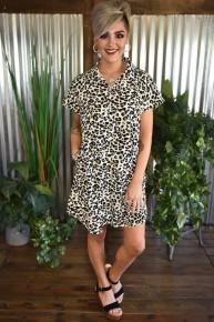 Button Down Leopard Dress
