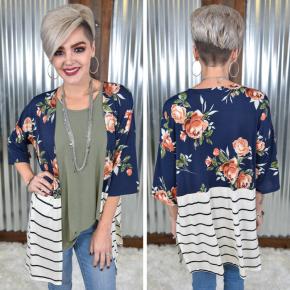 Floral & Stripes Cardigan