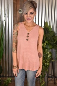 Blush Button Front Tank