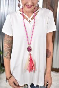 Fuchsia Bling Fabric Tassel Necklace