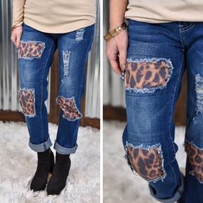 L & B Leopard Dark Wash Boyfriend Jeans