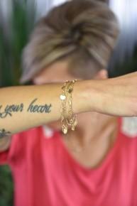 Gold Bead & Disc Charm Bracelet