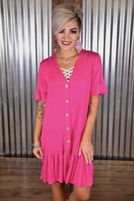 Hot Pink Faux Button Ruffle Dress